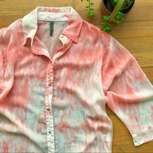 XCVI Coral Tie-dye Crepe Button Down